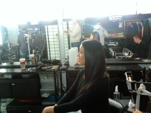 My official Twitpic from our day of shooting, from the hair & make up chair that morning