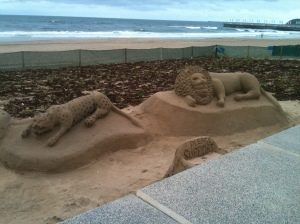 Sand sculptures on the beach in Durban, South Africa