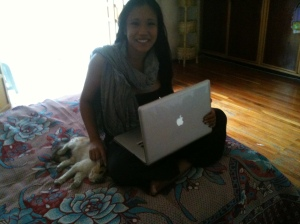 Me and Lucy the cat, working on the CONDOMIZE social networking initiative