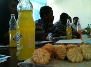 Pineapple Fanta and cookies! Snacks during a focus group with PSI and Mekdim