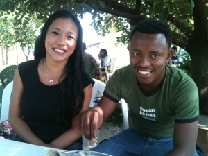 Haile and me, eating tibs in Konso
