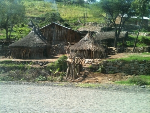 Traditional rural homes in Ethiopia