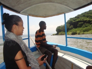 Me in the boat with our Crocodile Market guide, who carries a gun - just in case