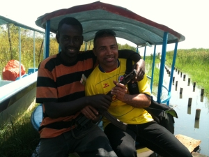 Joshua and our guide with the gun