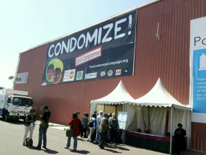 Our banner outside the ICASA venue